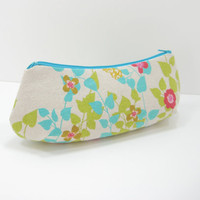 Curvy Cosmetic Bag, Zippered Accessory Pouch, Pencil Case, Floral Print Cosmetic Pouch, Japanese Canvas, Ready to ship