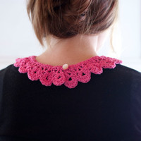 Crochet lace collar in soft eco cotton pink. Vintage styled feminine fibre necklace accessory.