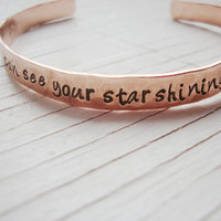 I can see your star shining down on me hammered hand stamped copper cuff loss of a loved one