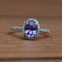Tanzanite diamond white gold ring by EidelPrecious on Etsy