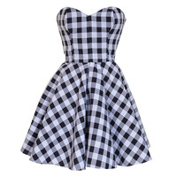 Monochrome Check Party Dress  | Style Icon`s Closet