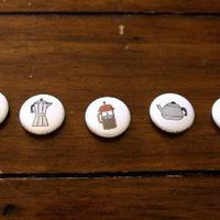 Coffee Buttons Set of 5 by beverlyyy0