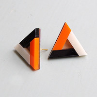 Pyramid Earrings - Burnt Orange by Nylon Sky
