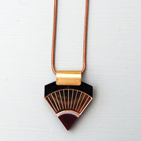 Sun Point Necklace in Gold Burgundy and Black by Wolf and Moon E