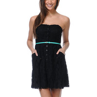 Love, Fire Button Up Black Lace Strapless Dress