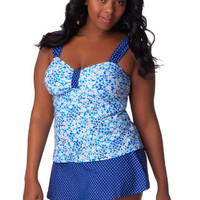 Floral and Dot Print Tankini Top