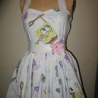 SpongeBob Under the Sea Crabby Patty Patrick Stamp Sweetheart Halter Strapless Ruffled Mini Dress