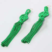 Sevenology Green Silk Tassel Earrings