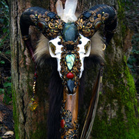 SACRED RAM Skull Staff Labradorite Black Tourmaline Carnelian Druid Wizard Pagan Wiccan Magic Walking Stick Agate Fox Fur by Spinning Castle