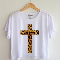 Leopard Cross Tee