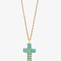 Natural Stone Cross Necklace | FOREVER 21 - 1042886394