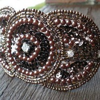 Art Deco Chocolate Brown Triple Circle Sequin Beaded by DanaCastle