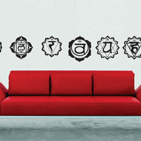 Seven Chakra's Set Wall Decal Sticker Graphic Art Asana Chakra Mantra Yoga Om Shanti Yogi Mudra Chant Being Present chakra