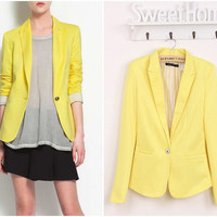 Fashion Spring Candy Color Basic Foldable Suit Jacket Blazer XS S M L Yellow