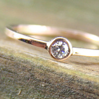 Diamond Engagement Ring 14k Yellow Gold 3mm Genuine by BendTheFish