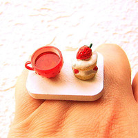 Tea Ring Cute Miniature Food Jewelry Tea and by SouZouCreations