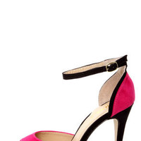 Mixx Shuz Sheila Fuchsia and Black Two Piece Peep Toe Heels