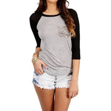 Pre-Order: Charcoal/Black Sequin Pocket Raglan