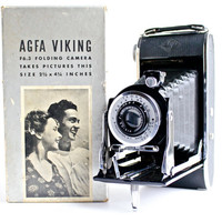 Vintage Agfa Ansco Viking Folding Camera - 1940s PD16 F6.3 Lens Black Camera, Original Box, Instructions, Exposure Guide / Accordion Bellows