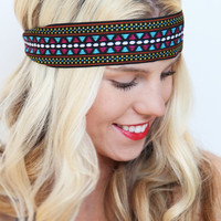 Boho Tribal Geometric Aztec Printed Stretch Headband Headwrap