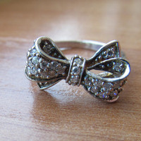 Bow rhinestone ring, fun finger rings, jewelry gifts