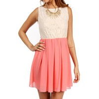 Sand/Coral Lace Colorblock Dress