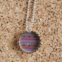 Cute Patterned Charm - bottle cap jewelry recycled pink hipster tribal pattern necklace key ring free shipping to USA