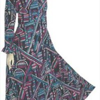 Navy Blue de Leon 1970s Vintage Maxi Dress