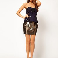 ASOS Corset with Peplum and Large Embellishment at asos.com