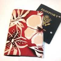 Hawaiian Passport Case red flower passport by redmorningstudios
