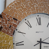 Brown Tan and Yellow Mosaic Wall Clock by GreenStreetMosaics
