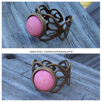 Sweetheart Pink Coral Cabochon Adjustable Ring
