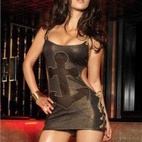 Leg Avenue Clubwear - Black Gold Foil Mini Clubwear Dress with Cut Out Fishnet Nautical Anchor & Strappy Back