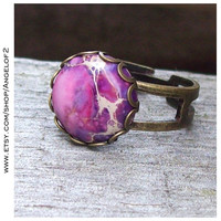 Purple Protection Jasper Double Band Adjustable Ring