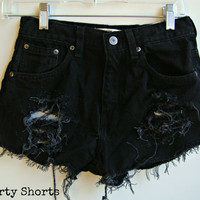 Custom Made Black High Waisted Shorts Any Size Hipster Tumblr Grunge