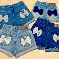 High Waisted Bow Shorts Custom Made Denim Jean Shorts Tumblr Hipster