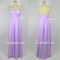 Strapless Sweetheart Long Lilac Chiffon Prom Dresses, Bridesmaid Dresses, Evening Dresses, Party Dresses, Homecoming Dresses