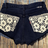 Vintage Levi's Denim High Waisted Shorts / Crochet Pockets / Studded