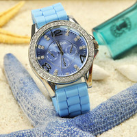 Blue Silicone Sports Watch