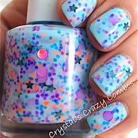 NEW Neon--Blue Gypsy:  Custom-Blended NEON Glitter Nail Polish / Lacquer