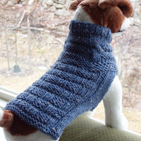 Dog Sweater Hand Knit Basket Weave and Cable Blue Tweed by jenya2
