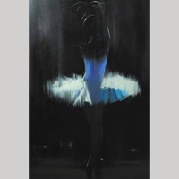 white ballerina print of my original oil painting  - Black and White Decor - dancer art print