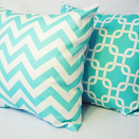 2 Coordinating Decorative Throw Pillow Covers in Teal Blue and White - 18 x 18 inches Cushion Cover Accent Pillow