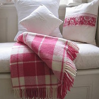 country check wool throw by country cream