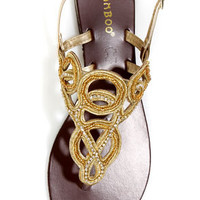 Bamboo Bloom 68 Gold Beaded Rhinestone Thong Sandals