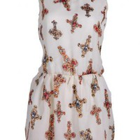 Sleeveless Cross Print Chiffon Dress S010585