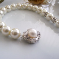 crystal pearl bridal bracelets and earrings, set of wedding bride