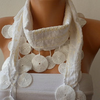 Scarf White  Cotton Scarf  Headband  Woman Necklace by fatwoman-cx11