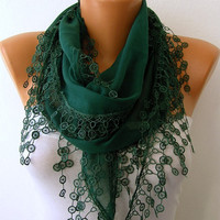 Emerald Green Scarf   Cotton  Scarf  Headband Necklace by fatwoman/93173359/