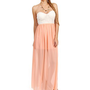 Ivory/Peach Strapless Lace Maxi Dress